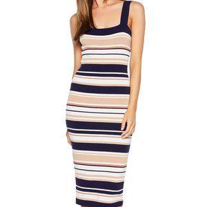 New Bardot Striped Knit Sheath Midi Dress